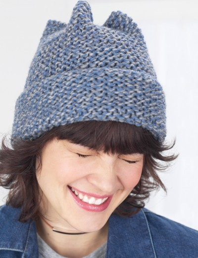 Free Knitting Pattern Garter Stitch Hat : Garter Stitch 4 Point Hat - Patterns Yarnspirations