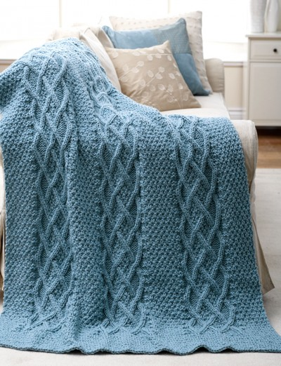Patons Knitting Patterns Baby Blankets : Patons Cushy Cables Afghan, Knit Pattern Yarnspirations
