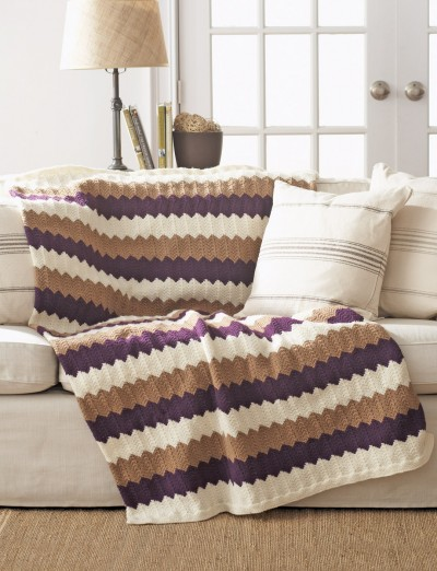 Chevron Afghan Pattern Knit : Bernat Chevron Blanket, Knit Pattern Yarnspirations