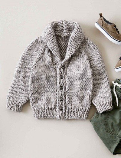Chunky Knit Jacket Patterns Free : Bernat Shawl Collar Cardigan, Knit Pattern Yarnspirations