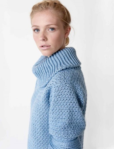Free Knitting Pattern For Ladies Cowl Neck Sweater : Caron Over Easy Cowl Neck, Crochet Pattern Yarnspirations