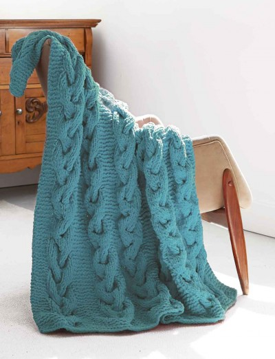 Bernat Cable Afghan, Knit Pattern Yarnspirations