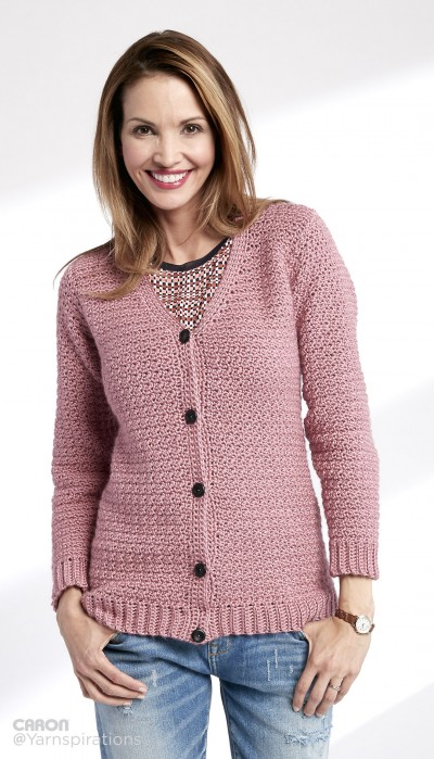 Free Crochet Sweater Patterns To Download : Caron Adult Crochet V-Neck Cardigan, Crochet Pattern ...
