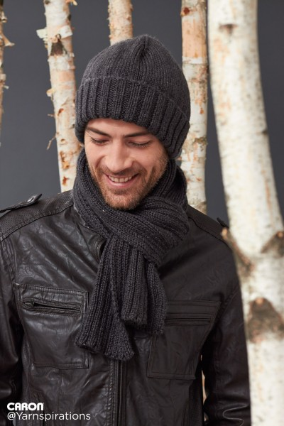 Knitting Pattern For Mens Scarf And Hat : Caron Mens Basic Hat and Scarf Set, Knit Pattern Yarnspirations