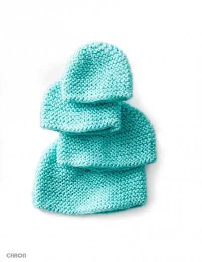 Free Knitting Pattern Garter Stitch Hat : Caron Mini Garter Stitch Cap, Knit Pattern Yarnspirations