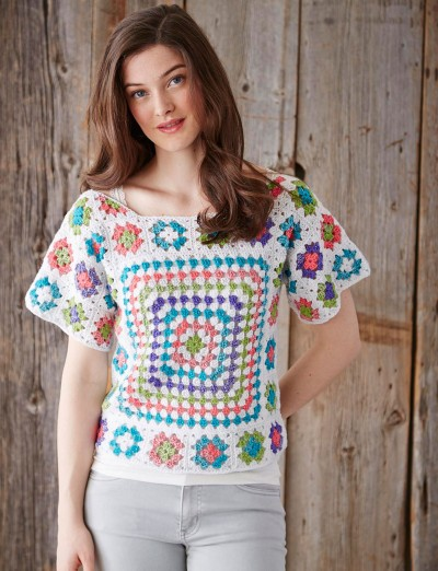 Free Crochet Pattern Sweater Pullover : Patons Boho Pullover, Crochet Pattern Yarnspirations