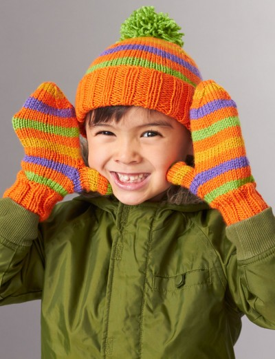 Knitting Pattern Books Hats : Patons Striped Basic Hat and Mittens 4 Needles, Knit ...