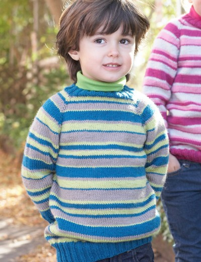Free Knitting Patterns For Children s Pullover Sweaters : Patons Kids Top-Down Striped Sweater, Knit Pattern ...
