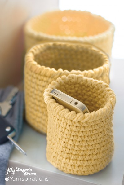 Lily Sugar And Cream Free Crochet Patterns : Lily Crochet Nesting Baskets, Crochet Pattern Yarnspirations