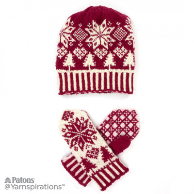 NORTHERN FAIR ISLE KNIT HAT AND MITTENS, KNIT | Yarnspirations