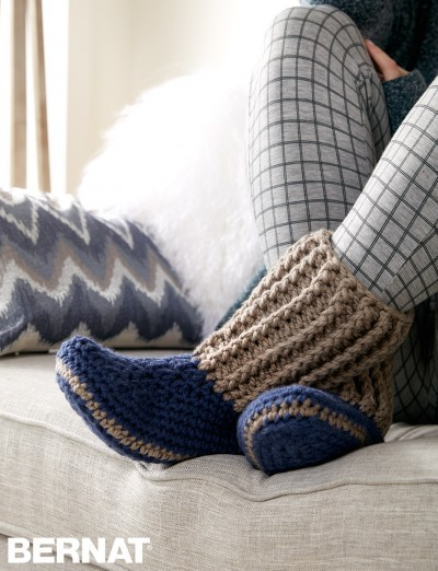 Bernat Slipper Socks, Crochet Pattern Yarnspirations