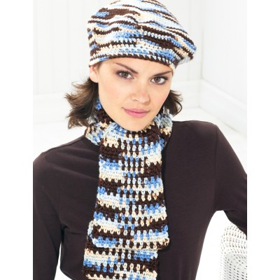 Beret and Scarf - Blue and Brown