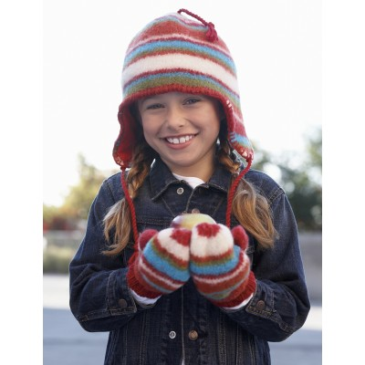 Striped Hat and Mittens