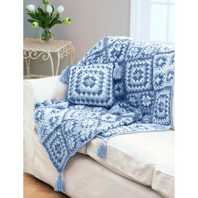 Crochet Pattern Granny Square Pillows : Crochet Granny Square Throw & Pillow - Patterns ...