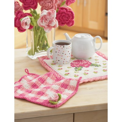 Rose Potholder and Dishcloth
