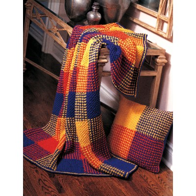 Boldly Colored Plaid Afghan