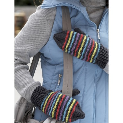Four Needle Striped Mittens - Medium Worsted