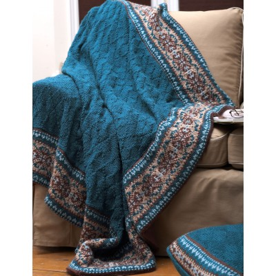Patons Free Knitting Patterns : Patons Fair Isle Border Blanket and Pillow, Knit Pattern Yarnspirations