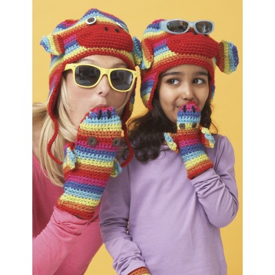 Rainbow Stripes Hat and Mittens
