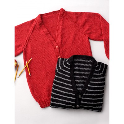 Child: Raglan Crew or V-Neck Cardigan
