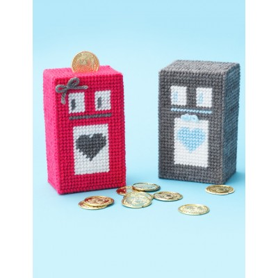 Plastic Canvas Robot Coin Bank