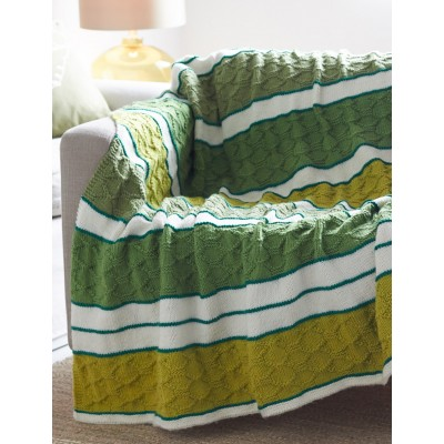 Block Quilt Striped Afghan