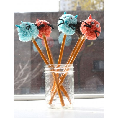 Kitty Cat Pompom Pencil Topper