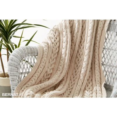 Knitting Pattern For Throw With Cables : Bernat Braided Cables Knit Throw, Knit Pattern Yarnspirations