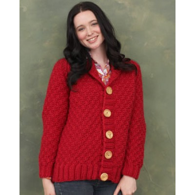 Knitting Pattern Cardigan Shawl Collar : Bernat Shawl Collar Cardigan, Knit Pattern Yarnspirations