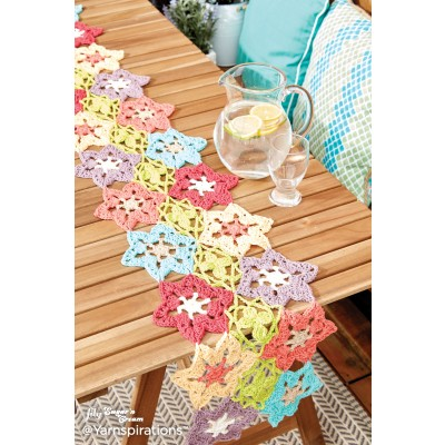 Free Crochet Pattern Flower Table Runner : Flower Power Crochet Table Runner Yarnspirations