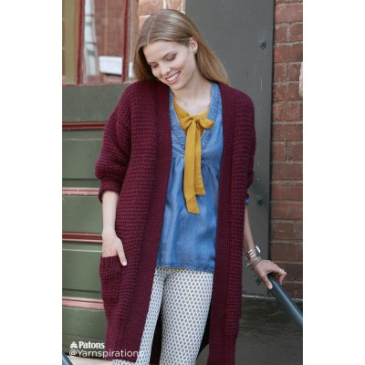 Knitting Pattern Weekend Cardigan : Long Weekend Knit Cardigan - Patterns Yarnspirations