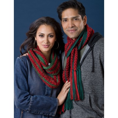 Her Infinity & His Fringed Christmas Cactus Scarves