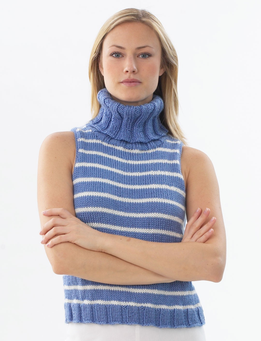 Knitting Patterns Womens Turtleneck Sweaters : Stripe Sleeveless Pullover - Patterns Yarnspirations