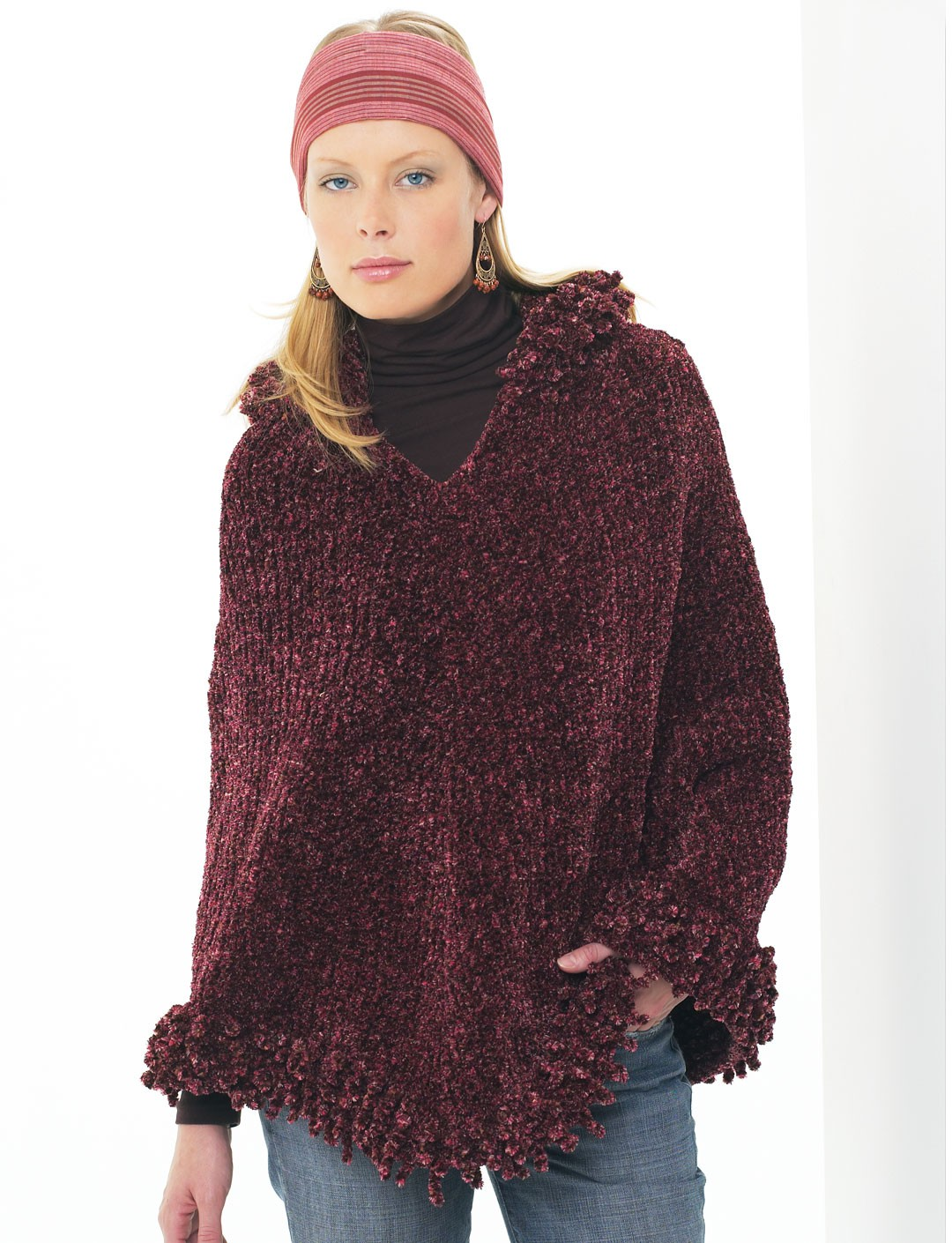 Free Crochet Pattern For Hooded Cape : Hooded Poncho - Patterns Yarnspirations