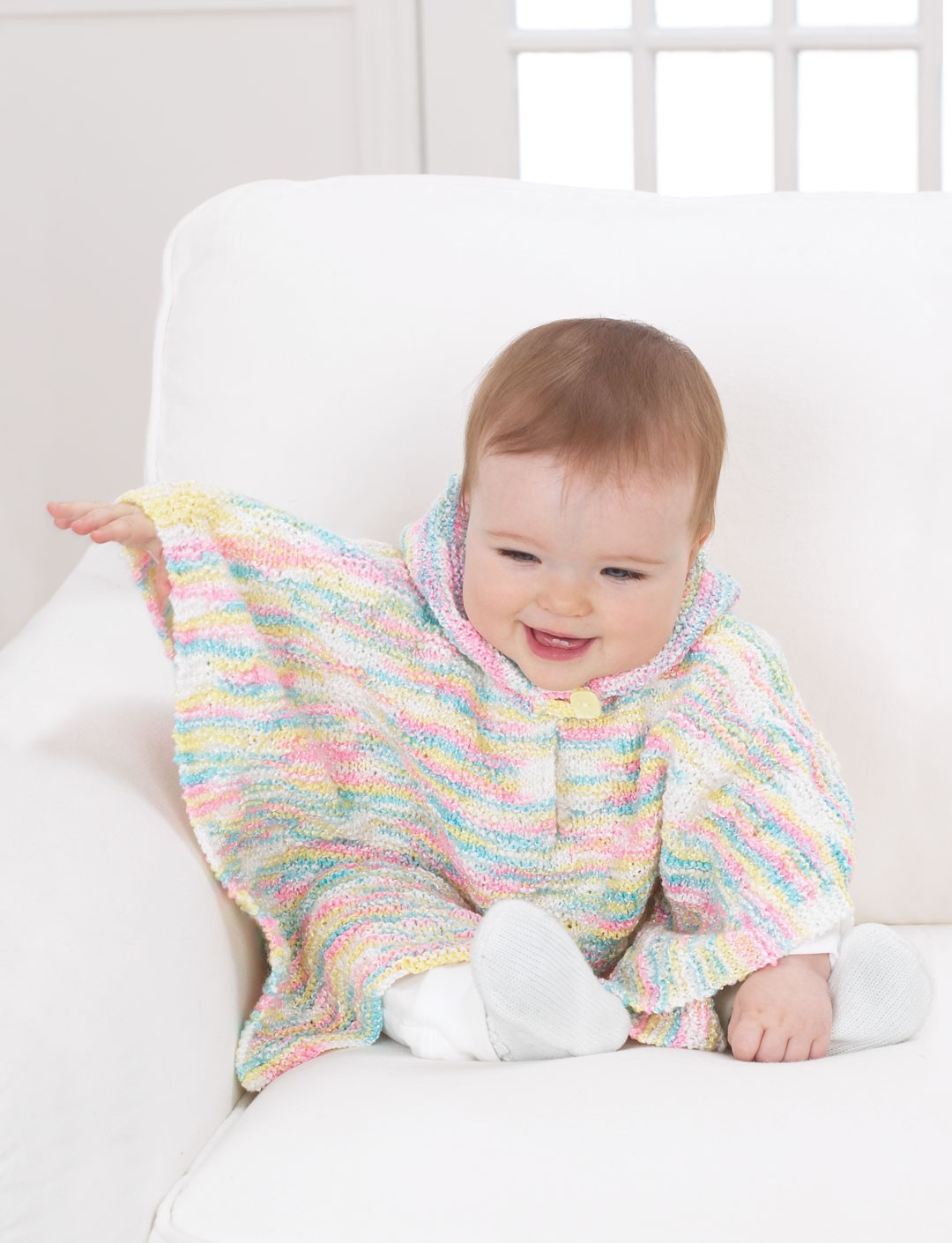 Hooded Toddler Poncho Knitting Pattern : Sweet Hooded Poncho - Patterns Yarnspirations