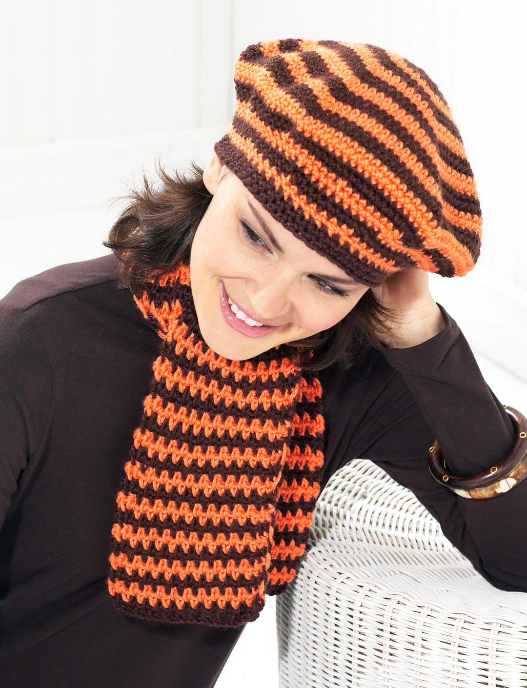 Beret and Scarf - Orange and Brown