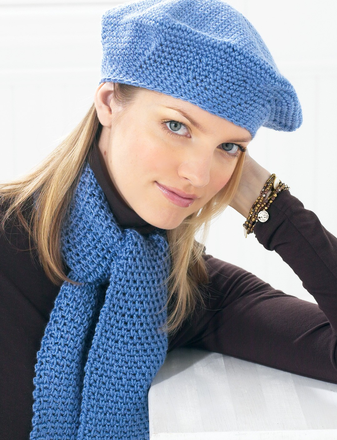 Beret and Scarf - Blue