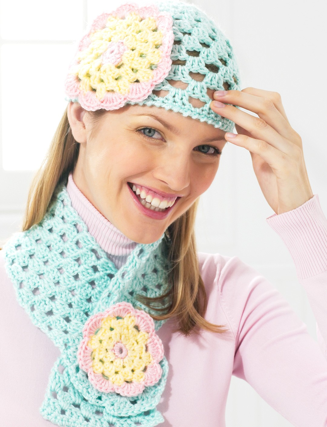 Flower Cap and Scarf - Spring