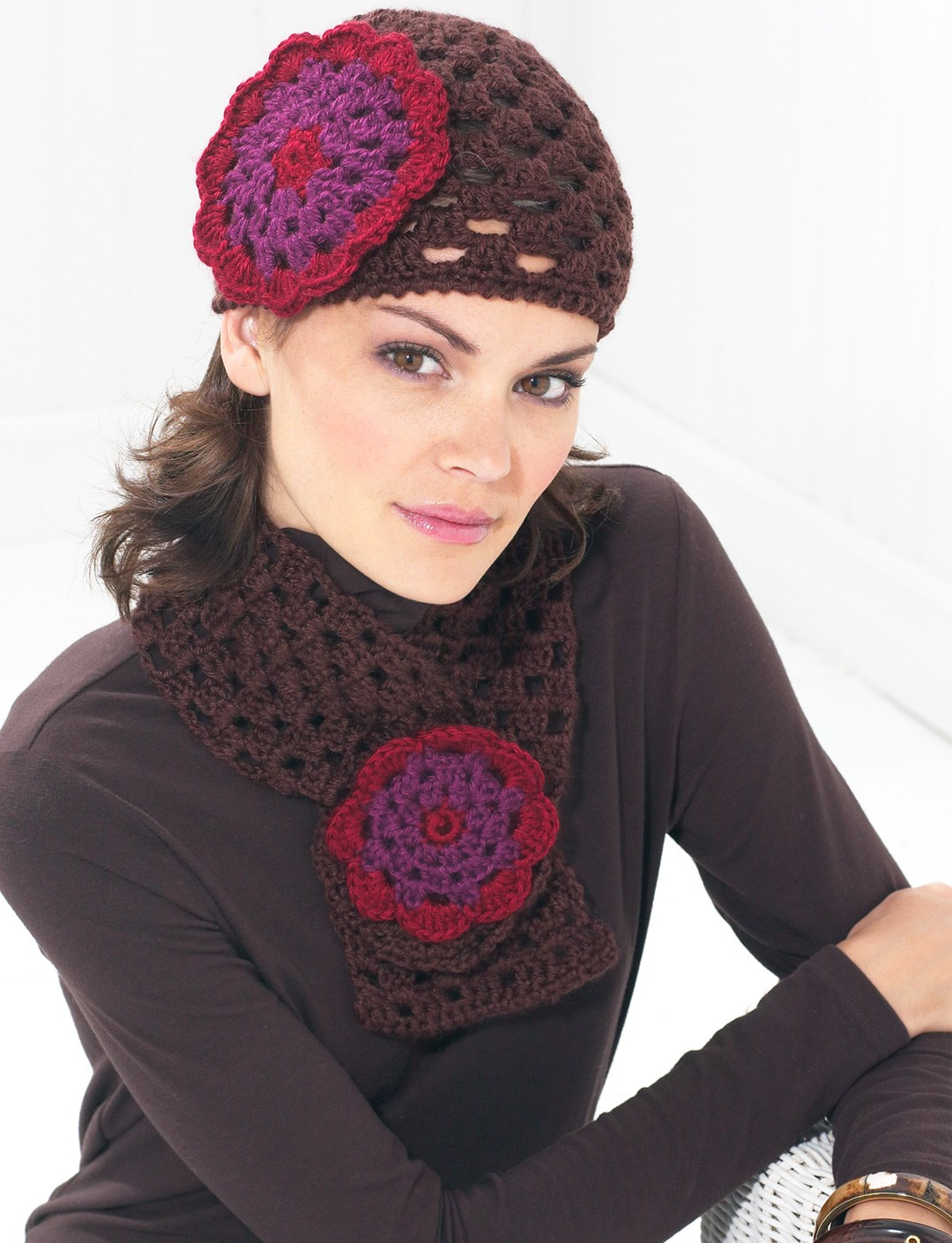 Flower Cap and Scarf - Fall