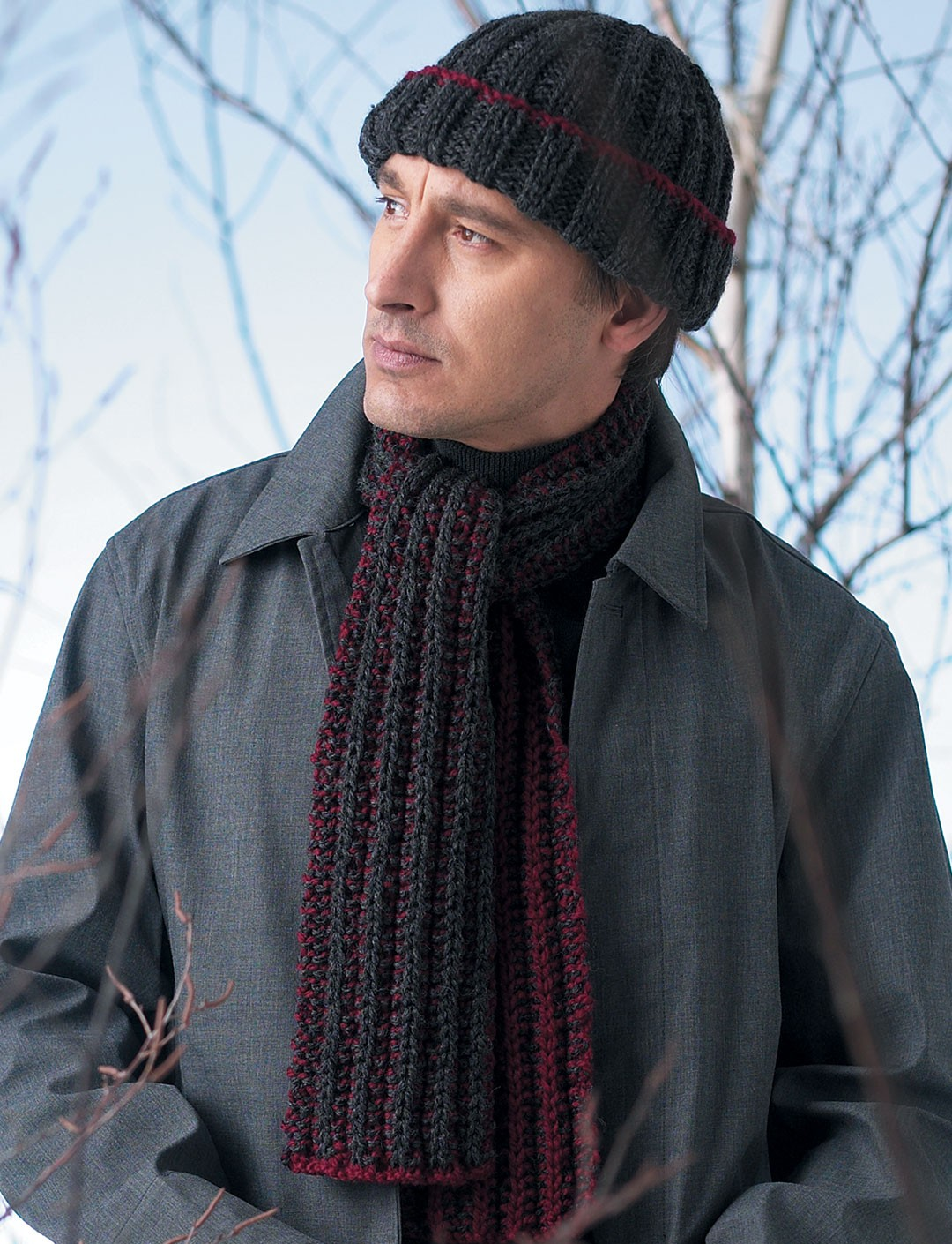 Knitting Patterns For Men s Hats And Scarves : Easy Rib Hat & Scarf - Patterns Yarnspirations