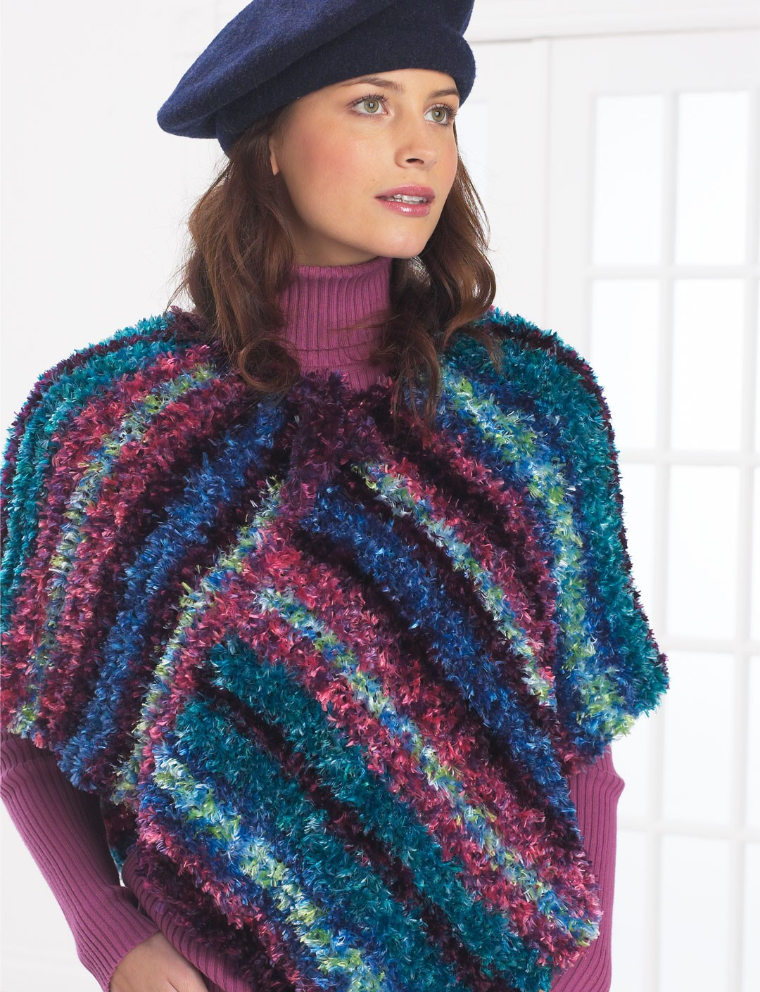 Knitting Pattern Striped Poncho : Striped Poncho - Patterns Yarnspirations