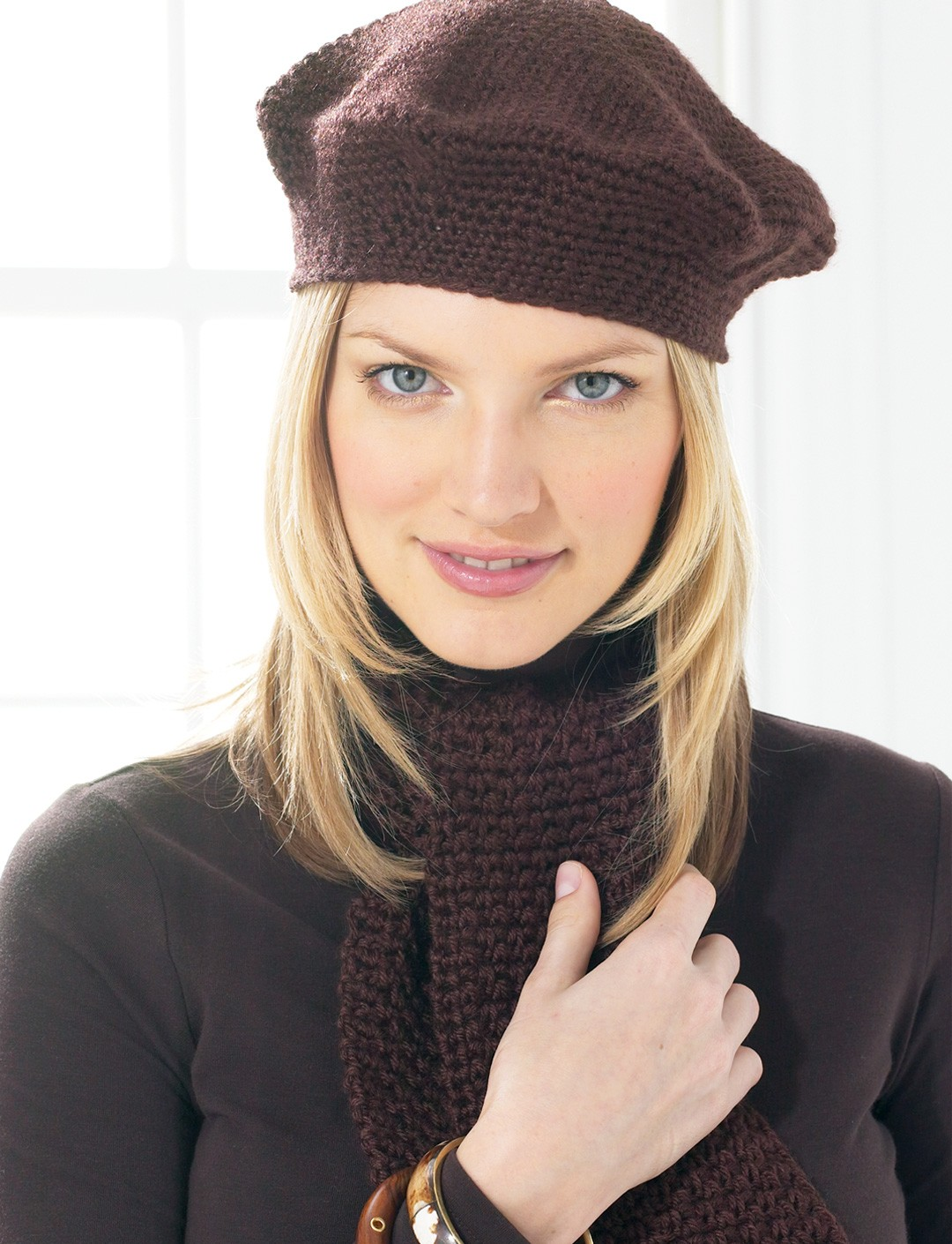 Beret and Scarf - Brown