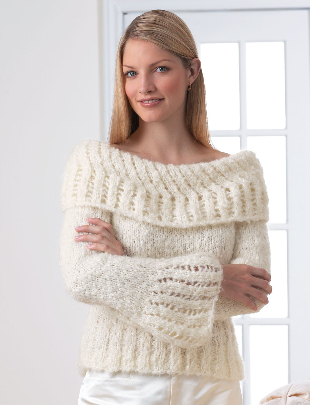 Knitted Jersey Patterns : Lacework Sweater - Patterns Yarnspirations