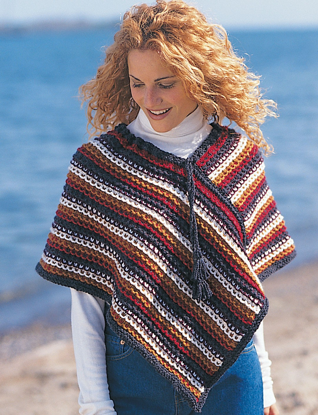Free Knitting Pattern For A Poncho : Easy Rustic Stripes Poncho - Patterns Yarnspirations