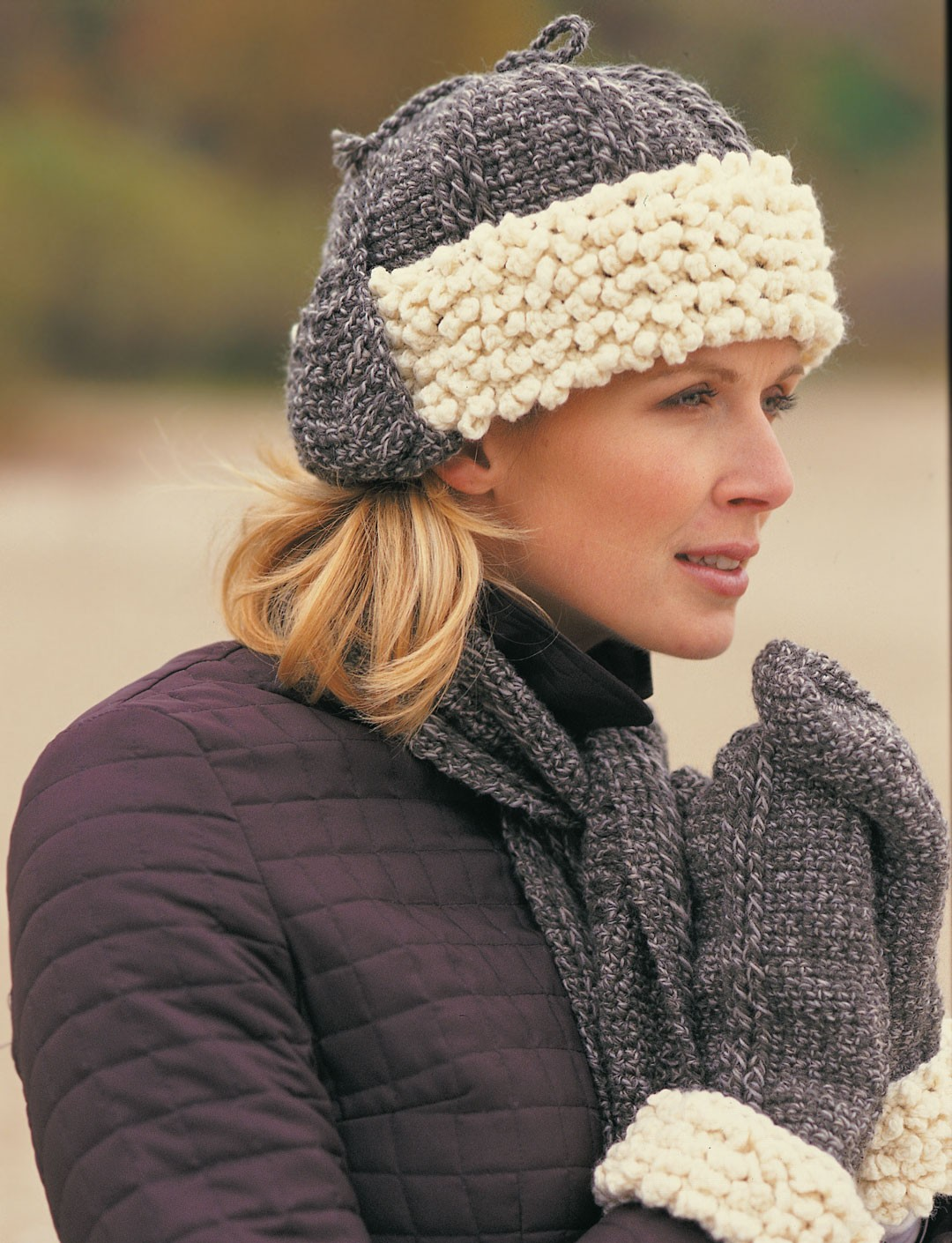 Free Crochet Pattern Ladies Mittens : Sheepskin Hat, Scarf & Mittens - Patterns Yarnspirations
