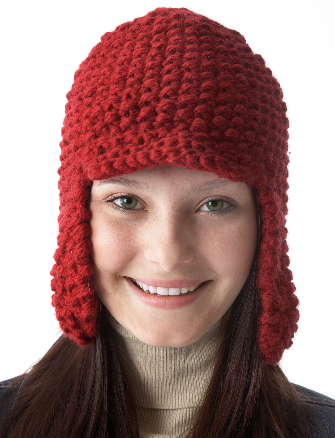 Chunky Earflap Hat Crochet Pattern Free : Earflap Hat With Peak - Patterns Yarnspirations