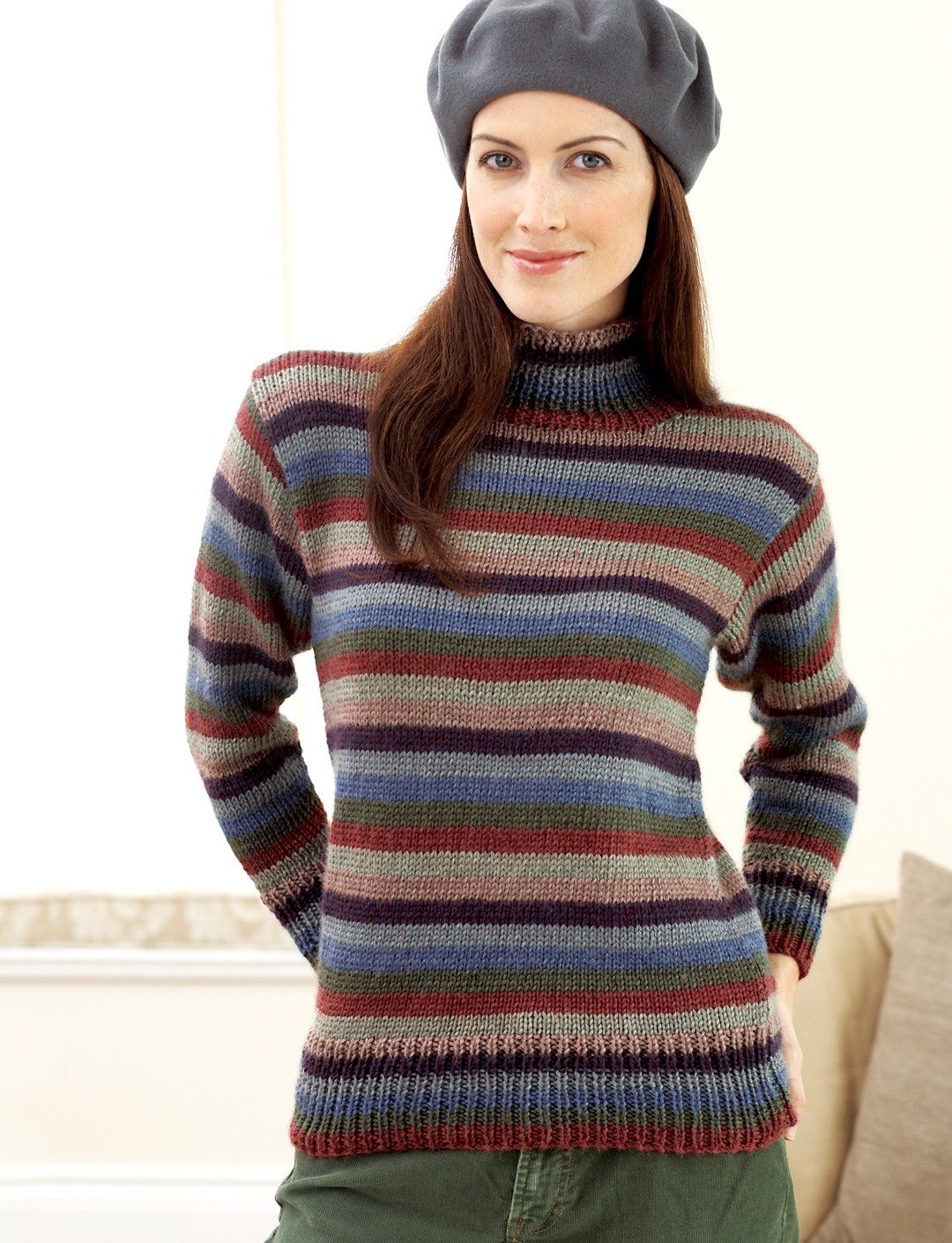 Knitting Patterns Womens Turtleneck Sweaters : Striped Turtleneck Sweater - Patterns Yarnspirations