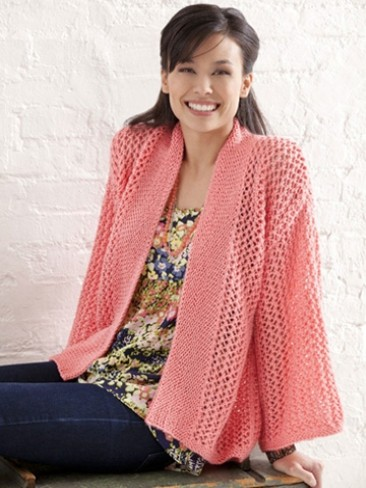 Free Crochet Pattern For Kimono : Caron Bright and Breezy Kimono, Knit Pattern Yarnspirations