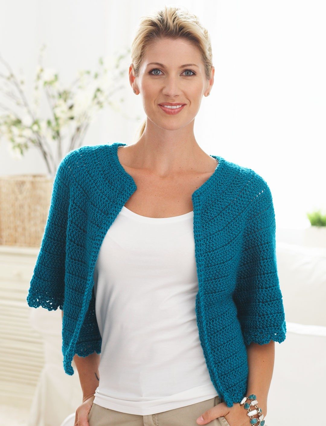Free Crochet Pattern For Short Cardigan : Caron Cape Sleeved Cardi, Crochet Pattern Yarnspirations