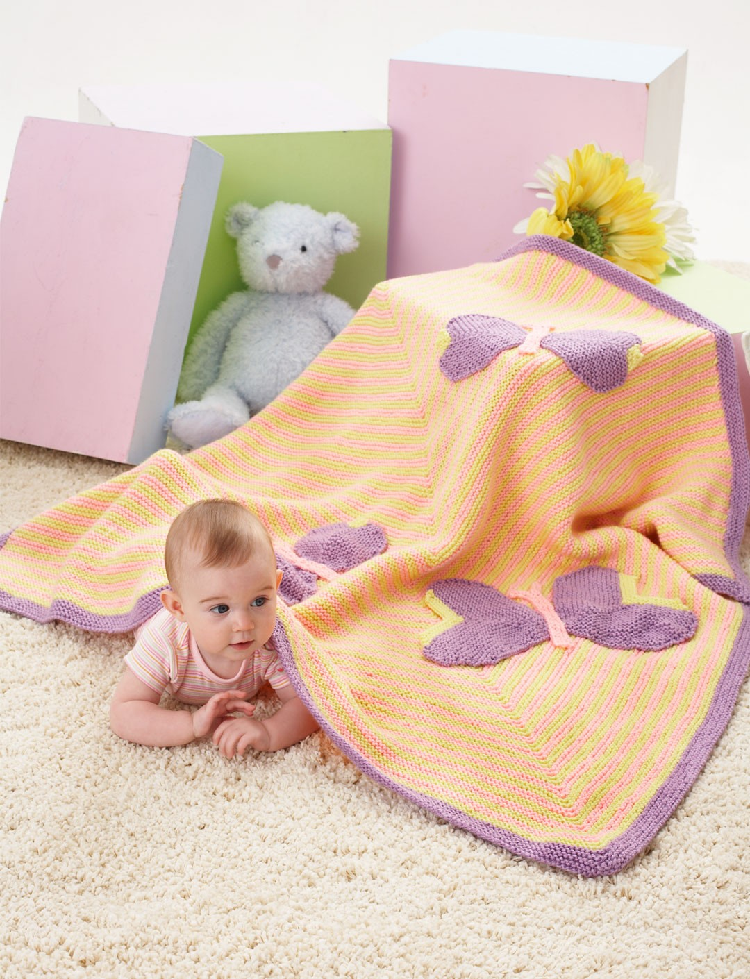 Butterfly Baby Blanket Knitting Pattern : Butterfly Blanket - Patterns Yarnspirations